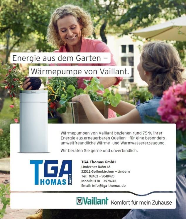 TGA Thomas Lindern Heizung Wärmepumpe Vaillant Anzeige